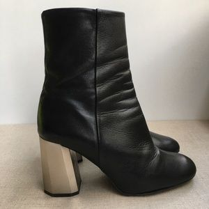 Topshop EU 39 Black Leather Zip-Up Heeled Boots